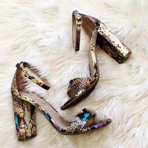 Report Rainbow Snake Print Open Toe Sandals Heels